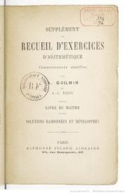 Série-A- Guilmin - Supplément au Recueil d'exercices d'arithmétique