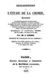 Serie-B- Liebig, J. - Introduction à l'étude de la chimie
