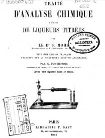 Serie-B- Mohr, F. - Traité d'Analyse chimique