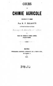 Serie-B- Malagutti, F. - Leçons de chimie agricole