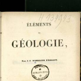 Serie-C- D'Omalius - Eléments de géologie
