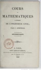 Série-A- Adhémar, Joseph - Cours de mathématiques à l'usage de l'ingénieur civil