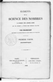 Série-A- Branquart - Eléments de la science des nombres