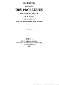 Série-A- Sonnet, Hippolyte - Solutions raisonnées des problèmes d'arithmétique