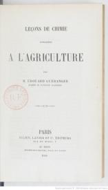 Serie-B- Guéranger, E. - Chimie agricole